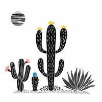 Woestijn bloem Linosnede vector Set