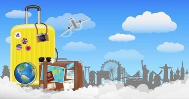 tijd om te reizen met tas en wereldreisobjecten vector