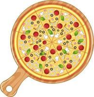 bovenaanzicht van traditionele Italiaanse pizza geïsoleerd op een witte achtergrond vector