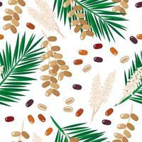 vector cartoon naadloze patroon met datum fruit exotisch fruit, bloemen en bladeren op witte achtergrond