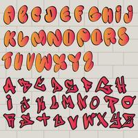 Graffiti-alfabetten op Wall Vector Pack
