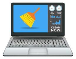 laptop met schoonmaakapplicatie vector