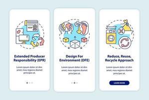 Initiatieven ter vermindering van e-waste onboarding van het paginascherm van mobiele apps met concepten vector