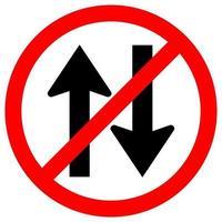 verbied tweerichtingsverkeer verkeersbord vector
