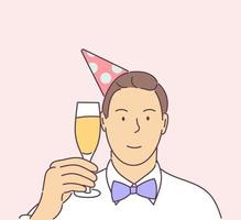 nieuwjaarsviering, feestelijk humeurconcept. gelukkig lachend oudejaarsavond vieren man met hoed en glas champagne op feestje. vector
