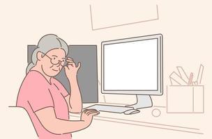 communicatie, videoconferentie concept. oude leeftijd vrouw grootmoeder gepensioneerde stripfiguur zittend op een stoel en online praten met dochter. remote gesprek thuis illustratie. vector