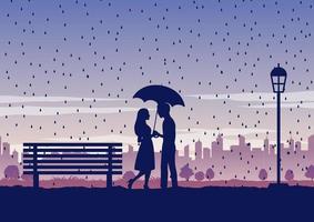 silhouet van mensen in park, koppel met paraplu verliefd vector