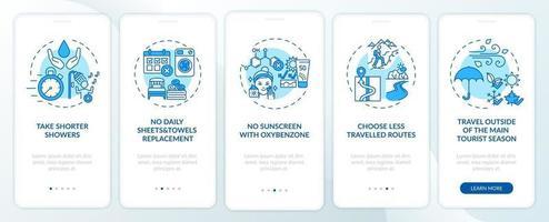 ideeën voor duurzaam toerisme op het scherm van de mobiele app-pagina met concepten vector