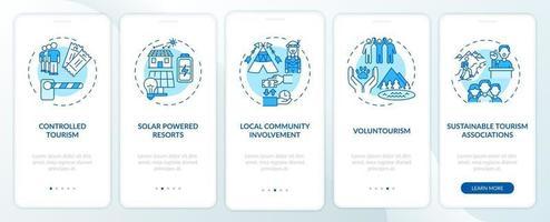 beste duurzame toerismepraktijken onboarding app-paginascherm met concepten vector