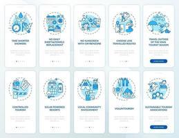 groen toerisme onboarding mobiele app-paginascherm met concepten vector