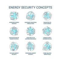 energie veiligheidsconcept pictogrammen instellen vector
