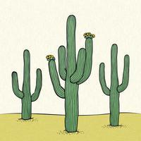 Woestijn bloem Linosnede Vector achtergrond