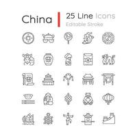 china lineaire pictogrammen instellen vector