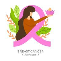 Platte borst kanker bewustzijn lint met achtergrond vectorillustratie
