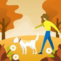 Het vlakke Menselijke Spelen met hond dierlijke vriend met landschaps vectorillustratie als achtergrond