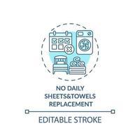 geen dagelijks pictogram voor het vervangen van lakens en handdoeken vector