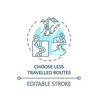 kies minder bereisde routes concept icoon vector