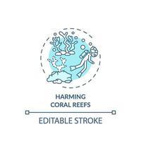 schaden van koraalriffen concept pictogram vector