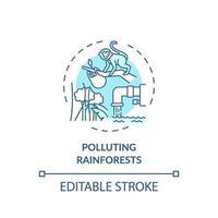 vervuilende regenwouden concept pictogram vector