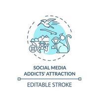 sociale media verslaafden attractie concept pictogram vector