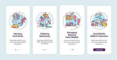 groene toerisme-uitdagingen onboarding mobiele app-paginascherm met concepten vector