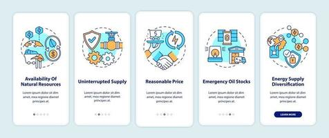 energiebeveiligingscomponenten onboarding mobiele app-paginascherm met concepten vector