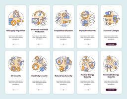 energiezekerheid onboarding mobiele app-paginascherm met ingestelde concepten vector