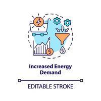 toegenomen vraag naar energie concept pictogram vector