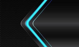 abstracte blauwe lijn licht neon pijl richting op donkergrijs metallic met zwarte cirkel mesh patroon lege ruimte ontwerp moderne futuristische technologie achtergrond vectorillustratie. vector