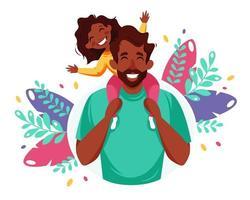 gelukkige vaderdag. zwarte man met dochter in zijn schouders. vaderdag wenskaart. vector illustratie