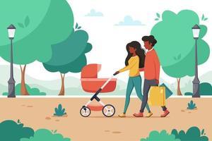 zwarte gezin met kinderwagen wandelen in het park. buiten activiteit. vector illustratie