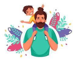 gelukkige vaderdag. man met zoon in zijn schouders. vaderdag wenskaart. vector illustratie