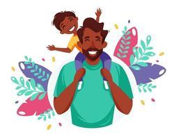 gelukkige vaderdag. zwarte man met zoon in zijn schouders. vaderdag wenskaart, banner concept. vector illustratie.