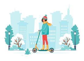 vrouw elektrische kick scooter rijden in de winter. eco transport concept. vector illustratie