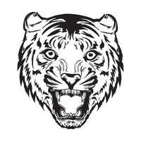 vector illustratie van tijger hoofd zijn mond openen