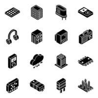 elektronica componenten en transistors isometrische icon set vector