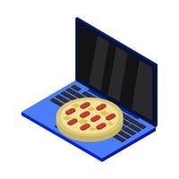 koop pizza online isometrisch op laptop vector