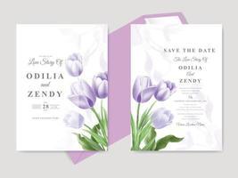 prachtige tulp aquarel bruiloft kaart vector
