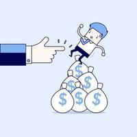 zakenman die uit geldzak valt. cartoon karakter dunne lijn stijl vector. vector