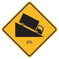 waarschuwingsborden steile afdaling op witte achtergrond vector