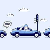 zakenman op de weg met verkeersopstopping, groen verkeerslicht, toeteren. cartoon karakter dunne lijn stijl vector. vector