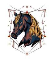 vectorillustratie van het hoofd van een paard met ornament vector