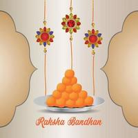 Indisch festival van gelukkige raksha bandhan viering wenskaart met kristal rakhi en zoet vector