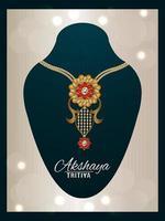 gelukkig akshaya tritiya festival van india sieraden met gouden ketting vector