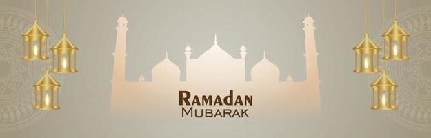 Arabische patroonmaan en lantaarn van islamitische festival ramadan kareem banner vector