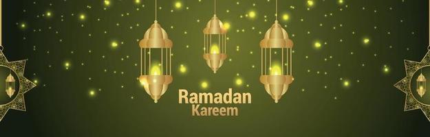 islamitische festival ramadan kareem uitnodigingsbanner met patroonmaan en lantaarn vector
