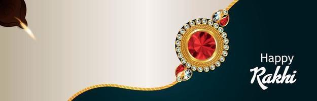 Indiase festivalviering op kristal rakhi en achtergrond vector