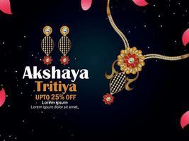 vectorillustratie van akshaya tritiya viering sieraden. verkooppromotie wenskaart met creatieve ketting en oorbellen vector