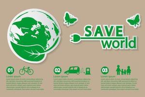 wereld met eco-vriendelijke concept sjabloon voor spandoek vector