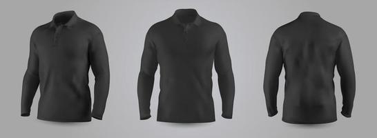 herensweater met mockup met lange mouwen vooraan, achteraan en zijaanzicht, geïsoleerd op een transparante achtergrond. 3D-realistische vectorillustratie, patroon formeel of casual sweatshirt. vector